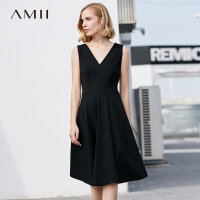 Amii极简法式少女小香风个子心机显瘦原宿复古礼服韩版清新连衣裙