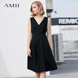 Amii极简小心机显瘦收腰a字裙夏装黑色礼服裙子原宿V领无袖连衣裙