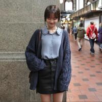 2018秋季新款女装韩版粗线毛衣外套开衫纯色宽松百搭针织衫女上衣