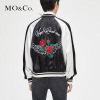 MOCO秋季新品立领刺绣棒球服女夹克外套MT183JKT106摩安珂