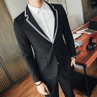 17秋季新品韩版男士西装夜店修身条纹领设计单西服个性绅士外套