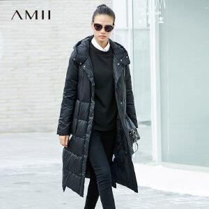 Amii[极简主义]轻奢 90白鸭绒羽绒服 冬季字母织带连帽加厚长外套