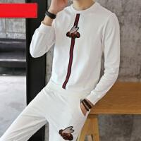 男士大码运动服跑步装上下2件装 韩版潮学生修身休闲套装 新款长袖T恤长裤两件套