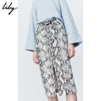 【超品一口价:309元】 Lily2019冬新款女装洋气蟒蛇纹中长款铅笔裙高腰仿皮半身裙6903