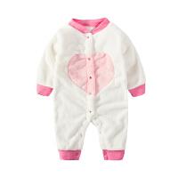 珊瑚绒睡衣女婴儿连体衣服0岁3男宝宝1秋冬装6春款外套装加绒加厚