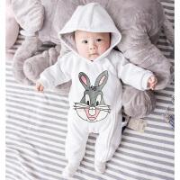 婴儿连体衣服女宝宝男新生儿冬装春秋装秋冬季0岁3个月卫衣外出服