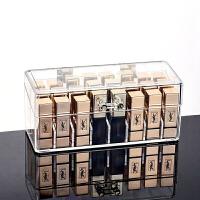 桌面化妆品口红收纳盒架子尘翻盖透明亚克力唇膏整理盒