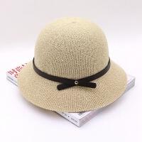 xm018渔夫帽皮绳小礼帽棉麻夏季女遮阳盆帽春夏秋季女士韩版礼帽 M(56-58cm)