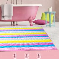 可爱彩虹条纹柔软洗手间地毯 浴室可机洗地垫吸水防滑脚垫 糖果扣扣绒