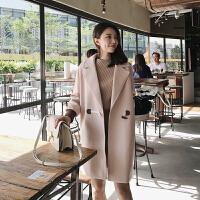 翻领牛角扣长款毛呢大衣女学生韩版2017新款小个子拼色呢子外套 粉色 均码