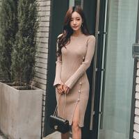 针织连衣裙秋冬款韩版女装新款长袖修身中长款开叉包臀打底裙 卡其
