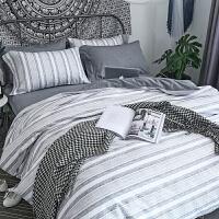 简约北欧床品套件男生四件套棉棉条纹床单被套三件套床笠2.0m