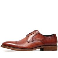 意大利手工雕花复古商务鞋英伦风休闲皮鞋商务正装三接头皮鞋婚鞋