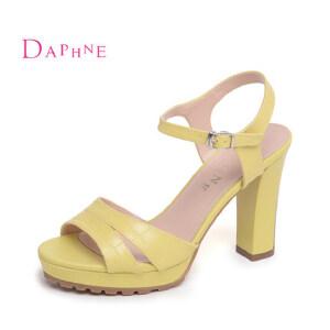 Daphne/达芙妮 夏季 鳄鱼纹粗高跟露趾女凉鞋10 303034