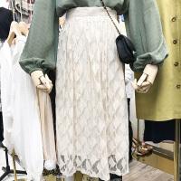 韩国ulzzang2018春装新款气质百搭高腰镂空蕾丝半身裙女中长裙潮
