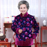 中老年大码棉衣金丝绒上衣老年人奶奶60-70-80岁冬季加绒加厚外套