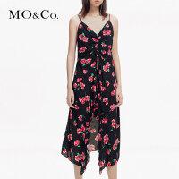 MOCO夏季新品吊带V领印花不规则连衣裙MA182DRS107 摩安珂