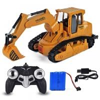 儿童无线遥控挖掘机充电推土机小孩工程车电动挖土机模型玩具 遥控履带挖掘机