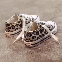 儿童帆布鞋豹纹童鞋宝宝布鞋板鞋