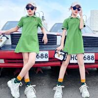 女童polo连衣裙夏季中大儿童短袖中长款T恤宽松夏装