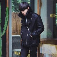 冬季男士机车羊羔绒棉衣加厚翻领短款青年加绒长袖外套新品