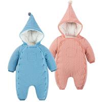 婴儿连体衣服0-1岁5个月满月新生儿女宝宝衣服可爱外出服秋季冬装