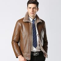 冬季新款中年皮衣男士加绒加厚皮毛一体翻领外套短款绵羊PU皮夹克