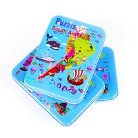 60片木质盒装100片中国地图拼图儿童早教益智玩具世界分区