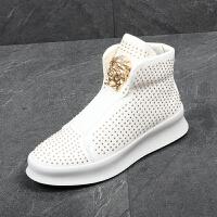 韩版白色高帮鞋男青年百搭潮流男鞋增高鞋金属铆钉发型师潮鞋短靴