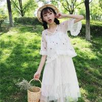 新款女装韩版刺绣花朵网纱衬衣上衣+蕾丝拼接吊带连衣裙套装夏装