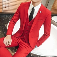 新郎西服套装男士结婚礼服套韩版修身正装伴郎服装影楼小西装 +马甲
