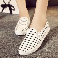一脚蹬懒人鞋女休闲帆布鞋条纹平底学生板鞋单鞋子【偏小一码】