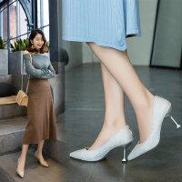 时尚新娘鞋女士尖头亮片高跟鞋 韩版婚鞋女银色细跟浅口伴娘鞋水晶鞋女