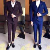 西服套装男士三件套商务韩版修身西装伴郎服韩版新郎结婚礼服