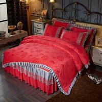 家纺韩式水晶绒加厚夹棉床罩床裙四件套冬季保暖法莱绒床套4件套1.8米 红玉色 加厚水晶绒
