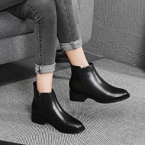 毅雅2017秋冬新款欧美时尚简约低跟方跟粗跟侧拉链圆头短靴裸靴马丁靴