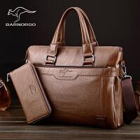 巴诺袋鼠男包手提包商务公文包男士横款单肩斜跨包软皮休闲包背包