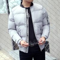 冬装新品韩版潮男印花棉衣男羽绒面包服外套