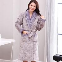 珊瑚绒夹棉情侣睡袍加厚240斤男女士外套浴袍中老年夹棉睡衣冬天