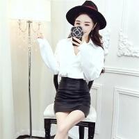秋季pu皮包臂裙女士秋装时髦新款两件套女装冬季可爱套装裙