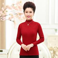 中老年女装秋冬装半高领针织衫40-50岁中年人妈妈装毛衣打底衫60