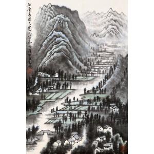近代杰出的画家、诗人 李可染款《江南春雨之图》