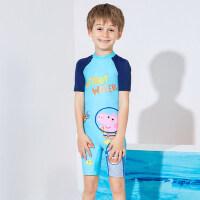 小猪佩奇儿童连体泳衣男童短袖长袖沙滩防晒男孩女孩宝宝可爱泳衣