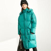 【到手价:612元】Amii极简韩版时尚鸭绒羽绒服女2019冬季新款宽松多口袋中长款外套