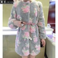 兔毛皮草外套中长款女2017冬装新款时尚修身拼接牡丹花毛毛外套女 均码