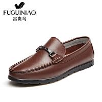 富贵鸟时尚复古商务休闲豆豆鞋男鞋男士皮鞋