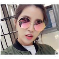 韩版炫彩反光太阳眼镜新款女士太阳镜 个性前卫小脸无框长脸墨镜