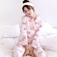 秋冬季三件套全棉性感吊带睡衣袍女长袖长裤套装空调服家居服和服 7722女