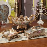 欧式创意奢华树脂摆件 客厅家居装饰品 干果盘纸巾盒烟灰缸三件套