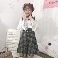 2018春季女装新款韩版时尚灯笼袖打底衬衣+毛呢高腰背带A字裙套装